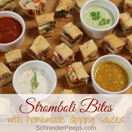 Easy Ham and Cheese Stromboli Bites With Arugula and Spinach {plus fabulous dipping sauces}