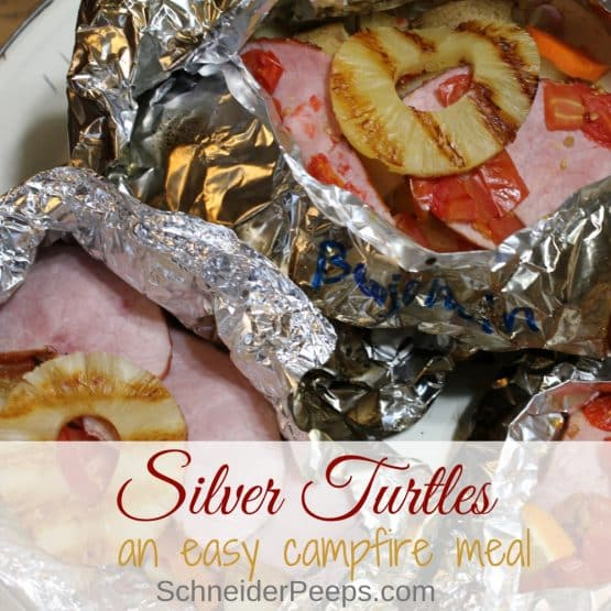 Silver turtles, also called hobo packets or foil dinners, are a complete meal in a convenient foil packet. These are great on the grill or a tailgate party.