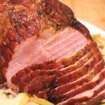 Crockpot Ham with Curry Honey Sauce {plus fried apples and onions}