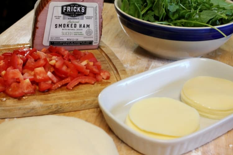 image of ingredients for ham and provolone stromboli with Frick's applewood smoked ham