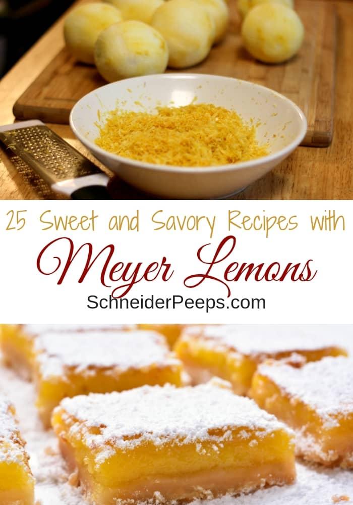 image of meyer lemon zest in white bowl and pile of meyer lemons without skin