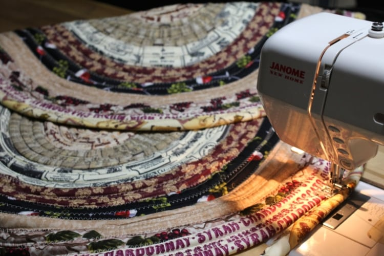 image of sewing jelly roll rug