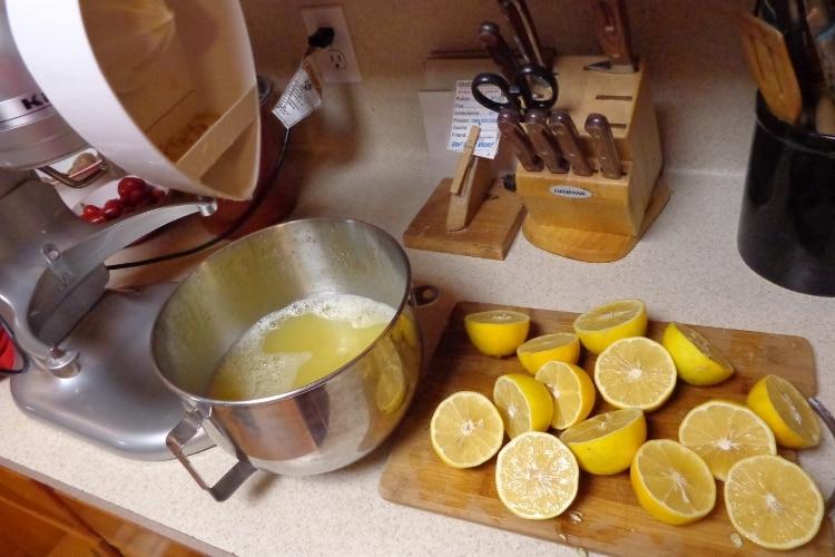 image of juicing meyer lemons for freezing juice