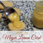 This tangy Meyer lemon curd is perfect for lemon tart filling, cookie topping, or eating right off the spoon. You can make the most of the short Meyer lemon season by freezing Meyer lemon curd. Learn how to make and preserve Meyer lemon curd today. #lemoncurd #meyerlemons
