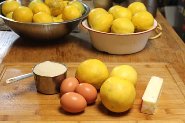 image of sugar, eggs, lemons, and butter for Meyer lemon curd