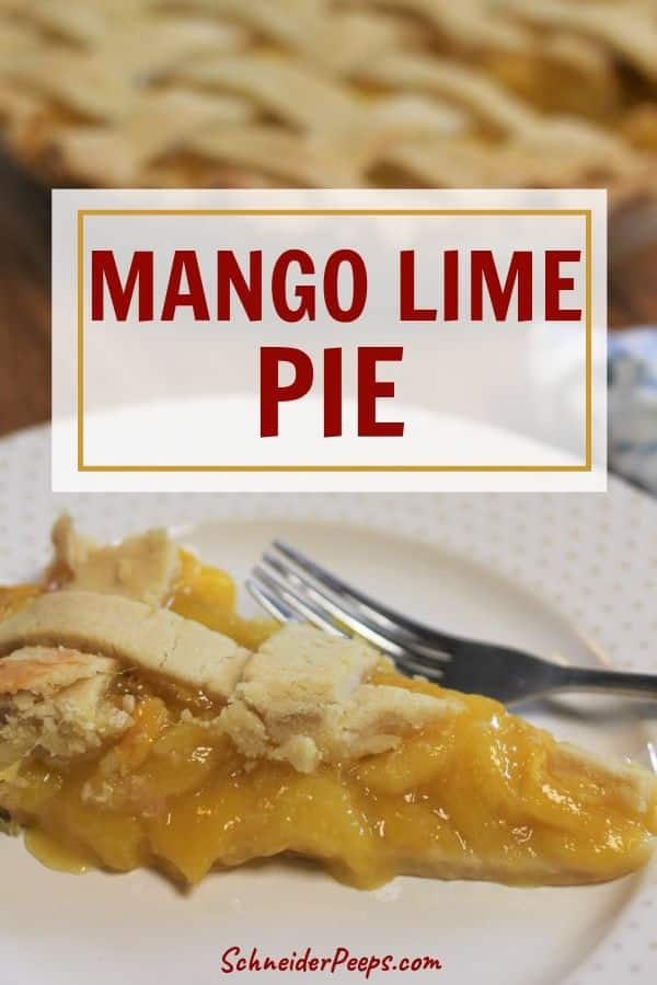 image of a slice of mango lime pie with lattice crust on white plate with gold dots and whole mango pie in the background