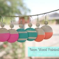 Dollar Store Craft {Neon Wood Painted Earrings}