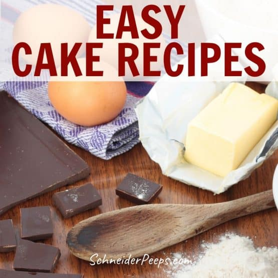 image of cake ingredients; chocolate bar, butter, eggs, flour, and sugar