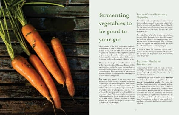 Image of carrots on wooden table and fermenting chapter The Ultimate Guide to Preserving Vegetables