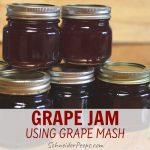 image of 5 small jars of homemade grape jam