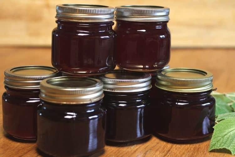 5 small jars of grape jam