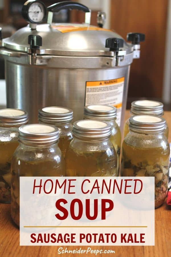 image of canned sausage potato soup with pressure canner in the background
