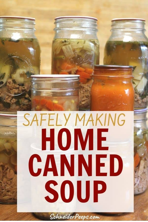 canned soup in mason jars