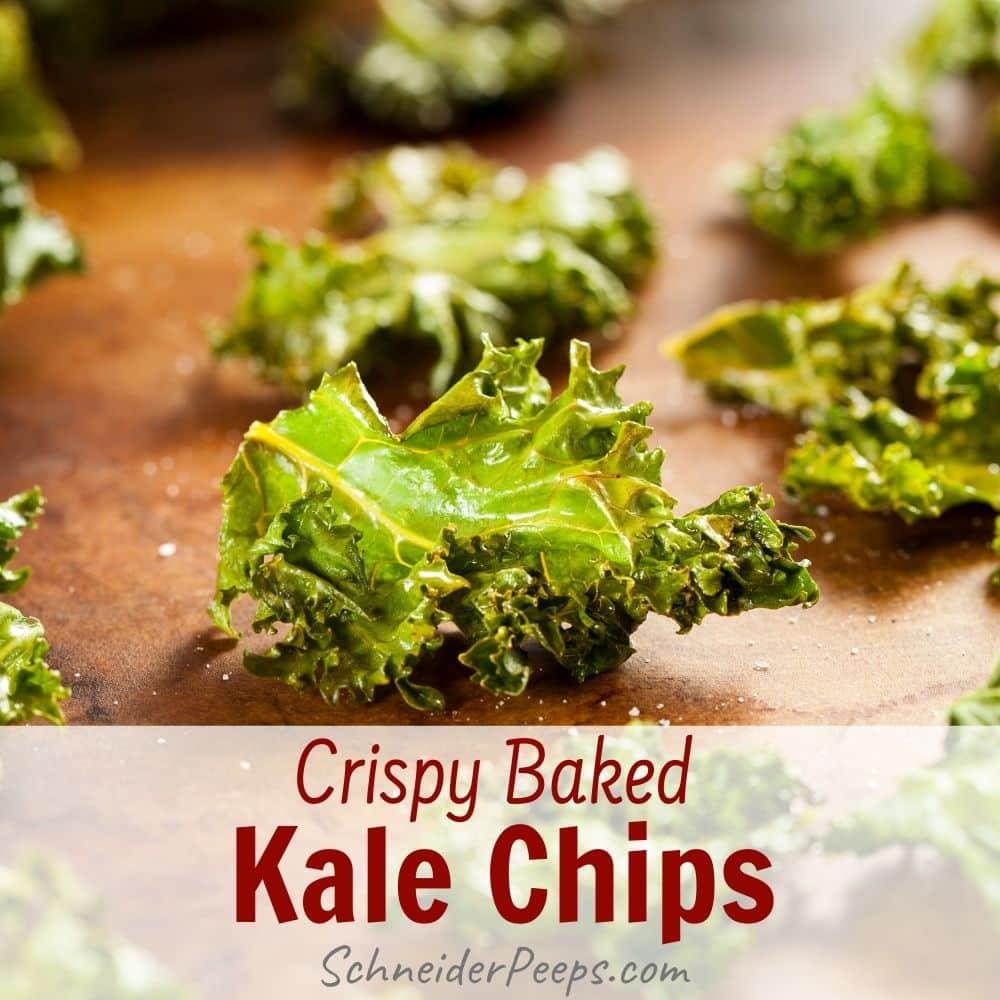 crispy baked kale chips on wood