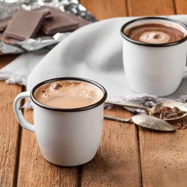 two cups of homemade hot chocolate