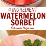 watermelon sorbet in turquoise ramekin garnished with lime and mint